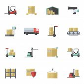 foto of logistics  - Warehouse shipping and logistics freight transportation icons flat set isolated vector illustration - JPG