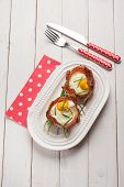 foto of chives  - speck bowl with eggs and chive - JPG