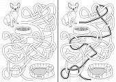 picture of maze  - Dog maze for kids with a solution in black and white - JPG