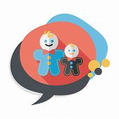 image of ginger man  - Gingerbread Man Flat Icon With Long Shadow - JPG