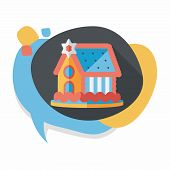 stock photo of gingerbread house  - Gingerbread House Flat Icon With Long Shadow - JPG