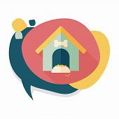 stock photo of dog-house  - Pet Dog House Flat Icon With Long Shadow - JPG