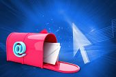 picture of postbox  - Red email postbox against shiny arrow on blue background - JPG