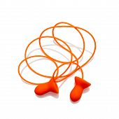 image of noise pollution  - Ear plugs with cord isolated on white background - JPG
