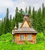 picture of log cabin  - Photo of a Old log cabin in a wood - JPG