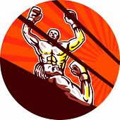 foto of knockout  - Illustration of an amateur boxer raising arms winning knockout viewed from low angle set inside circle with sunburst in the background done in cartoon style - JPG