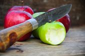 stock photo of fruits  - Apple on wooden background - JPG