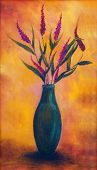 stock photo of vase flowers  - Flowers in a vase dried up on bright orange background oil painting color painting - JPG