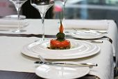 pic of lenten  - Vegetarian creative food in luxurious restaurant - baked tomatoes in sauce ** Note: Shallow depth of field - JPG