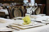 picture of lenten  - Vegetarian creative food in luxurious restaurant - plate served with avocado ** Note: Shallow depth of field - JPG