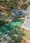 stock photo of samaria  - Samaria Gorge tourist attraction hike - JPG