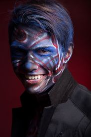 picture of mauri  - A creepy portrait of a halloween man with bloody body art and face art - JPG