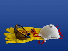 picture of respirator  - Working protection set including pair of gloves glasses respirator and ear plugs - JPG