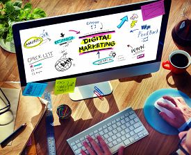 pic of marketing plan  - Digital Marketing Branding Strategy Online Media Concept - JPG
