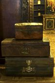 picture of old suitcase  - Indian iron old vintage suitcases composed on each other - JPG