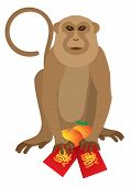 stock photo of mandarin orange  - 2016 Chinese Lunar New Year Monkey Red Packets with Good Fortune Chinese Text and Mandarin Oranges Vector Illustration - JPG