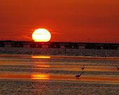 stock photo of skyway bridge  - sunset at the sunshine skyway bridge - JPG