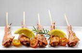 pic of thai cuisine  - Fresh made chicken wing satay skewer Traditional thai cuisine - JPG