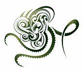 stock photo of maori  - Octopus shape as decorative Maori tattoo isolated on white - JPG