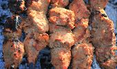 foto of braai  - Shashlick laying on the grill close up - JPG