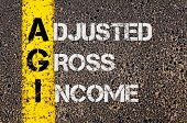 picture of grossed out  - Concept image of Business Acronym AGI as Adjusted Gross Income written over road marking yellow paint line - JPG
