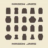 picture of mason  - Mason jars  silhouette icons set - JPG