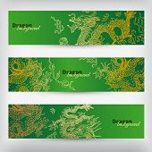 foto of dragon  - Vector background with asia dragons - JPG