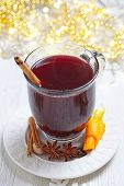 picture of christmas spices  - Hot red mulled wine with christmas spices - JPG