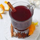 stock photo of christmas spices  - Hot red mulled wine with christmas spices - JPG