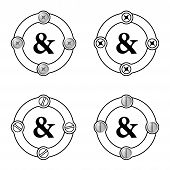 foto of ampersand  - Set of four flat frames and ampersand - JPG