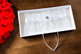 picture of garter-belt  - Beautiful wedding white bridal garter - JPG