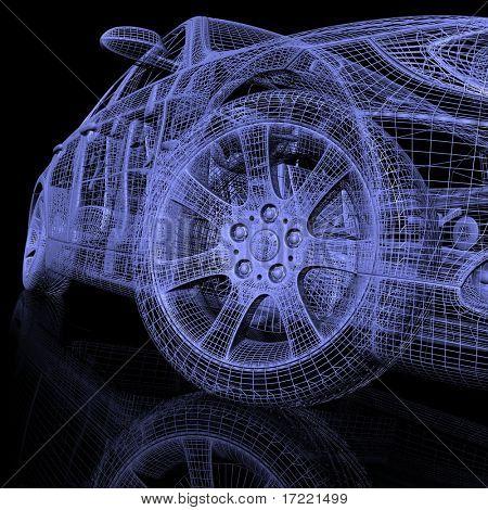 Постер, плакат: 3D модели автомобилей, холст на подрамнике
