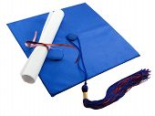 picture of graduation cap  - Diploma set on a graduation cap isolated on white - JPG