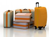Suitcases isolated on white background with reflection