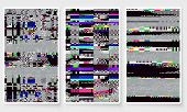 Glitch Screen Fail Mobile Device Data Error Wallpapers Set Grey poster