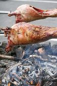image of spit-roast  - Shot of animals being roasted on a spit over an open fire viking style - JPG