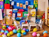 Kindergarten interior decoration child picture on wall. Preschool class waiting kids. Colour balloon poster