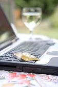 Credit Card On Laptop Keyboard, Outdoors poster