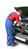 picture of auto repair shop  - Mechanic fixing car - JPG