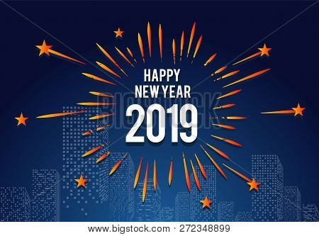 poster of Happy New Year 2019, 2019 On White Background, Illustration, New Year 2019, Colorfull Numbers, New Y