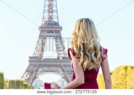 Woman At Eiffel Tower Paris
