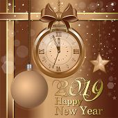 Greeting Card With Golden Antique Clock And Christmas Decorations. Five Minutes To Midnight. Happy N poster