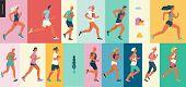 Marathon Race Group - Flat Modern Vector Concept Illustration Of Running Men And Women Wearing Summe poster