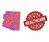 Healthcare Composition Of Bright Medical Mosaic Map Of Arizona State And Scratched Seal. Vector Red  poster