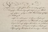 Antique Unreadable Calligraphic Handwriting. Used Vintage Paper Background poster