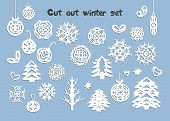 Christmas Handmade Collection. Paper Craft Design, Cut Out By Scissors From Paper - Snowflakes, Fir  poster