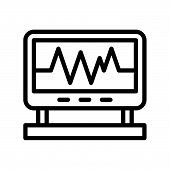 Vital Sign On Screen Monitor, Outline Icon. poster