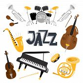 Jazz Musical Instruments. Vector Music Instrument Objects Collection Isolated On White, Drums And Tu poster