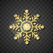 Shine Golden Snowflake On Black Background. Christmas And New Year Golden Glittering  Snowflake Deco poster