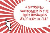 Conceptual Hand Writing Showing A Satisfied Customer Is The Best Business Strategy Of All. Business  poster